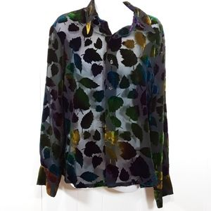Silk blend multicolored leaf equipment shirt